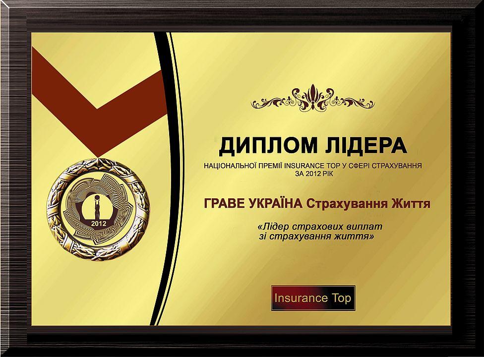 За підсумками національного рейтингу «Insurance Top» компанія посіла перше місце за показниками «Страхові виплати і кількість страхових випадків за 2012 рік»